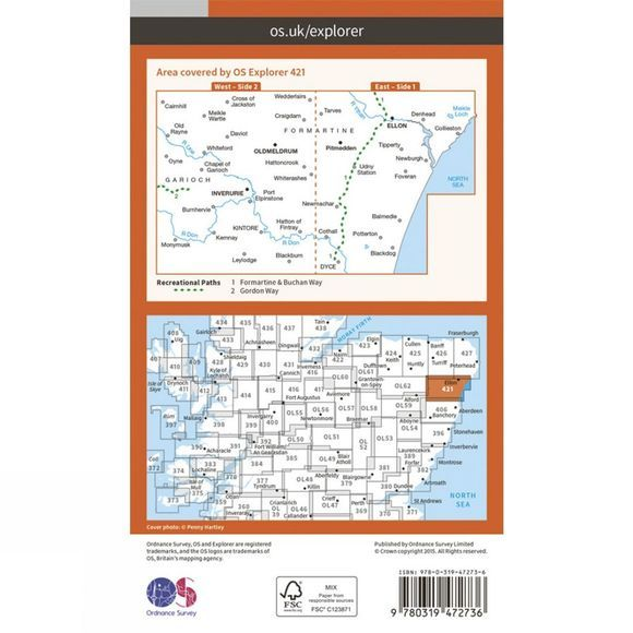 Ordnance Survey Active Explorer Map 421 Ellon and Inverurie V15