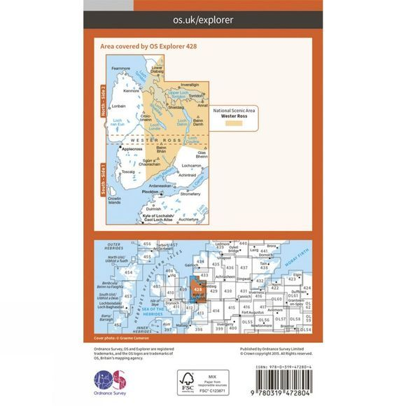 Ordnance Survey Active Explorer Map 428 Kyle of Lochalsh, Plockton and Applecross V15