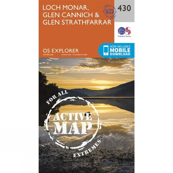 Ordnance Survey Active Explorer Map 430 Loch Monar, Glen Cannich and Glen Strathfarrar V15