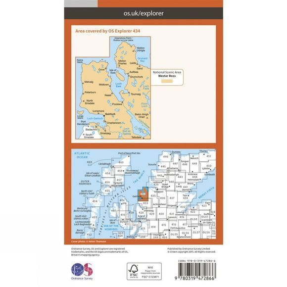 Ordnance Survey Active Explorer Map 434 Gairloch and Loch Ewe V15