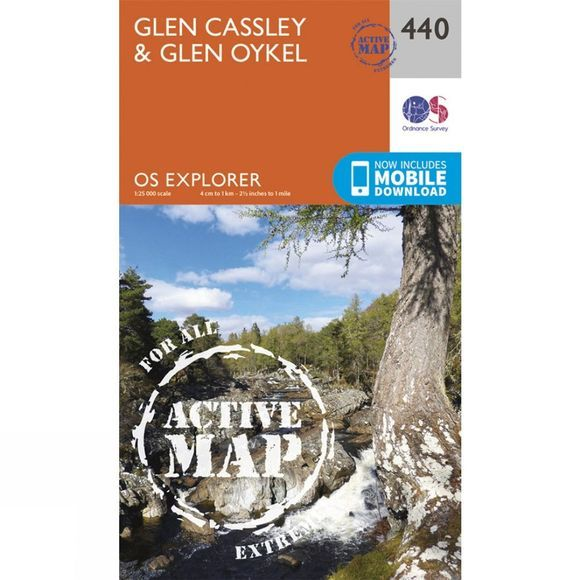 Ordnance Survey Active Explorer Map 440 Glen Cassley and Glen Oykel V15
