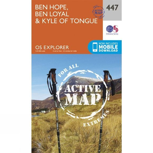 Ordnance Survey Active Explorer Map 447 Ben Hope, Ben Loyal and Kyle of Tongue V15