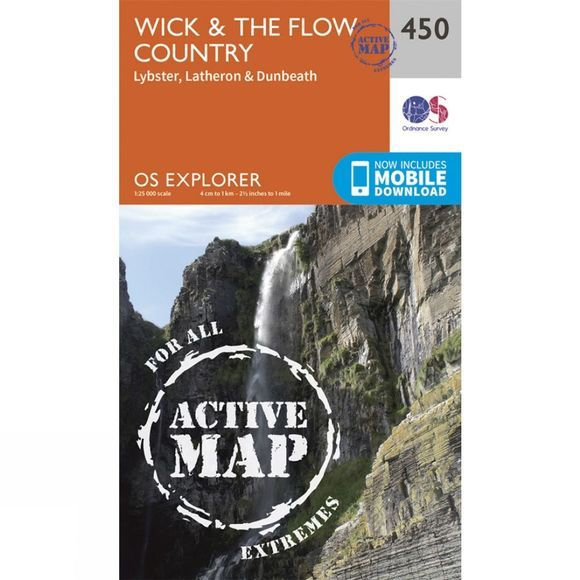 Ordnance Survey Active Explorer Map 450 Wick and The Flow Country V15