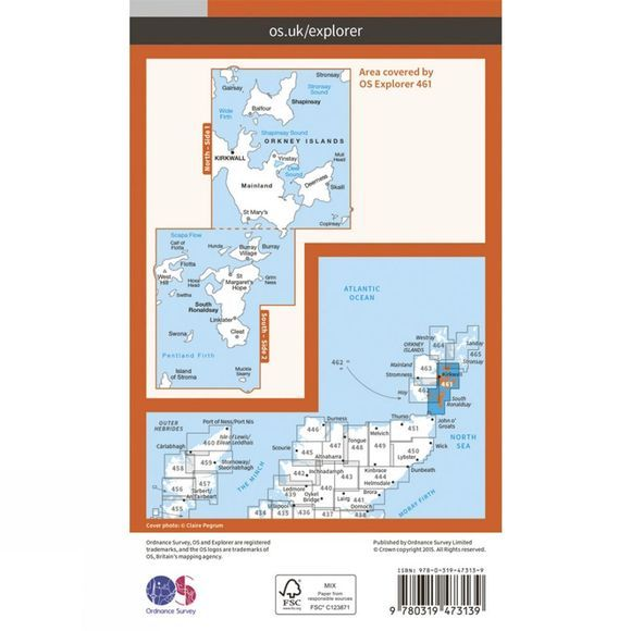 Ordnance Survey Active Explorer Map 461 Orkney - East Mainland V15