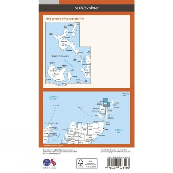 Active Explorer Map 464 Orkney - Westray, Papa Westray, Rousay, Egilsay and Wyre