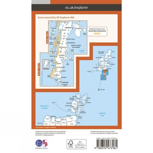 Ordnance Survey Active Explorer Map 466 Shetland - Mainland South V15