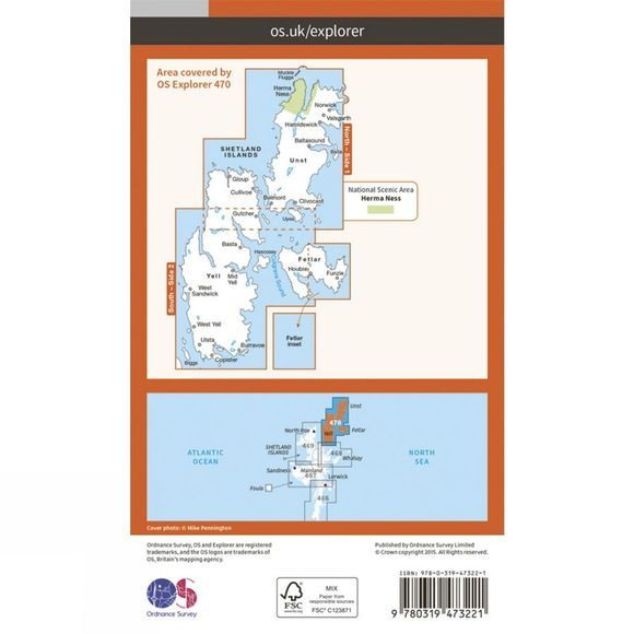 Ordnance Survey Active Explorer Map 470 Shetland - Unst, Yell and Fetlar V15