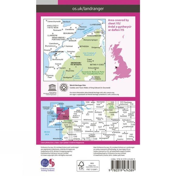 Ordnance Survey Active Landranger Map 115 Snowdon V16