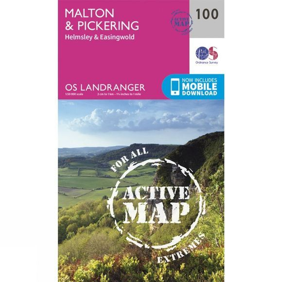 Ordnance Survey Active Landranger Map 100 Malton and Pickering V16