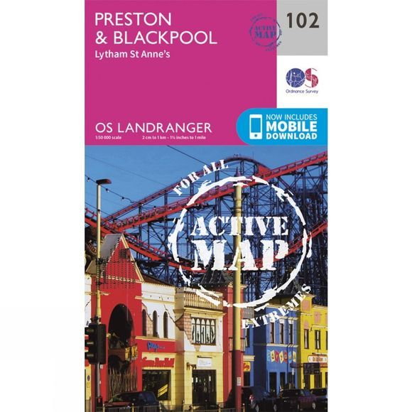 Active Landranger Map 102 Preston and Blackpool