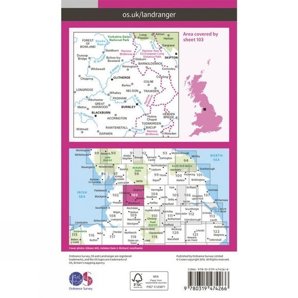 Ordnance Survey Active Landranger Map 103 Blackburn and Burnley V16