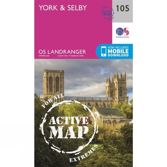 Ordnance Survey Active Landranger Map 105 York and Selby V16