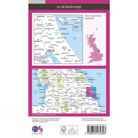 Ordnance Survey Active Landranger Map 107 Kingston upon Hull V16
