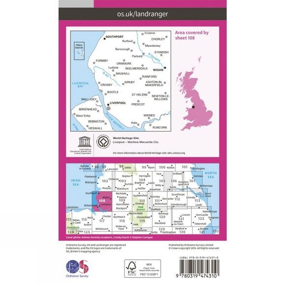 Active Landranger Map 108 Liverpool