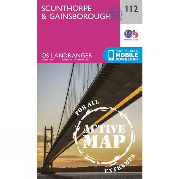 Ordnance Survey Active Landranger Map 112 Scunthorpe and Gainsborough V16