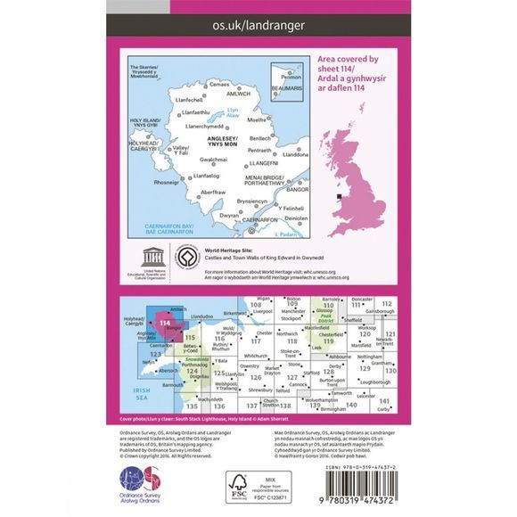 Ordnance Survey Active Landranger Map 114 Anglesey V16