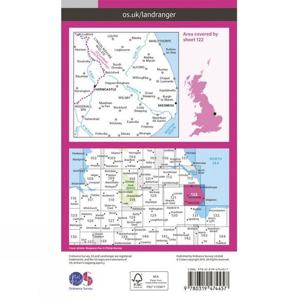 Ordnance Survey Active Landranger Map 122 Skegness and Horncastle V16