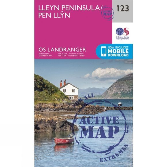 Ordnance Survey Active Landranger Map 123 Lleyn Peninsula V16
