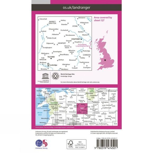 Active Landranger Map 127 Stafford and Telford