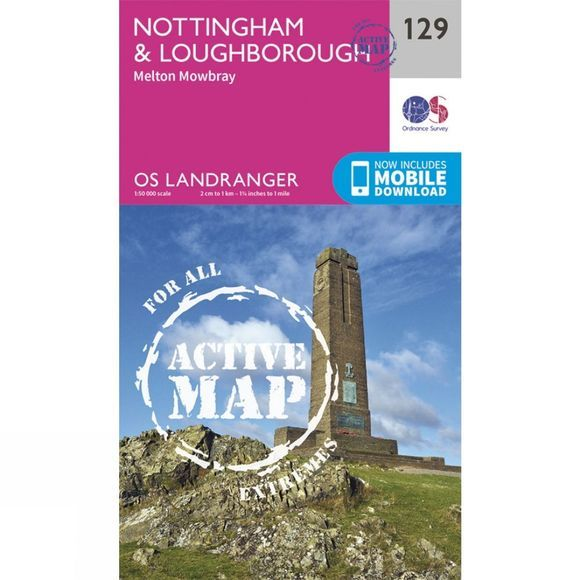 Active Landranger Map 129 Nottingham and Loughborough