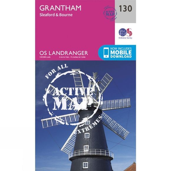 Ordnance Survey Active Landranger Map 130 Grantham V16