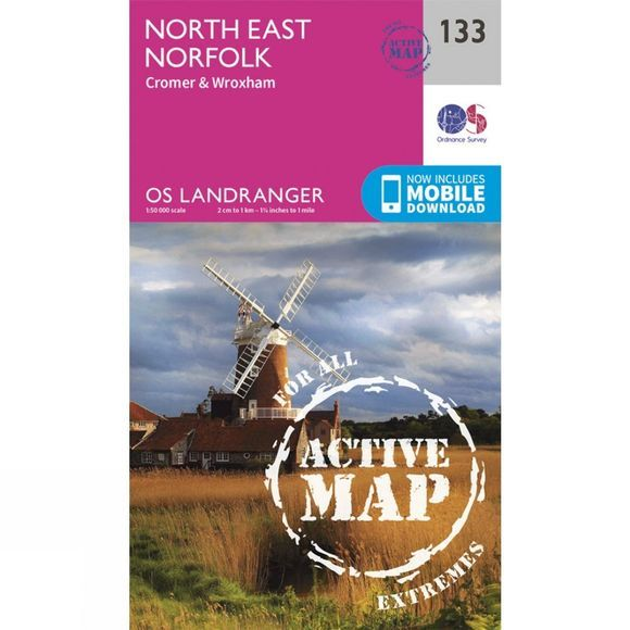 Ordnance Survey Active Landranger Map 133 North East Norfolk V16