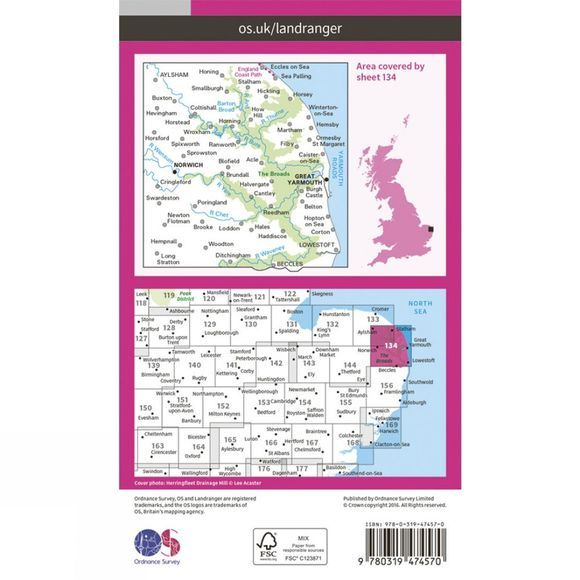 Ordnance Survey Active Landranger Map 134 Norwich and The Broads V16