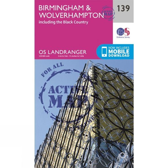 Ordnance Survey Active Landranger Map 139 Birmingham and Wolverhampton V16