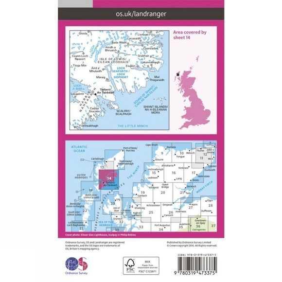 Active Landranger Map 14 Tarbert and Loch Seaforth
