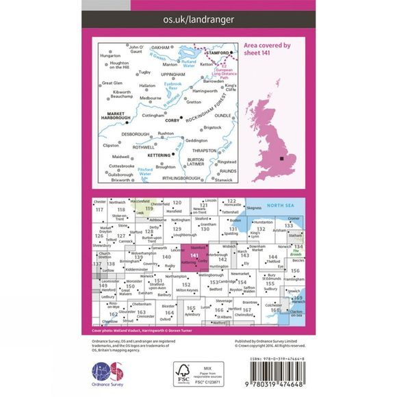 Ordnance Survey Active Landranger Map 141 Kettering and Corby V16