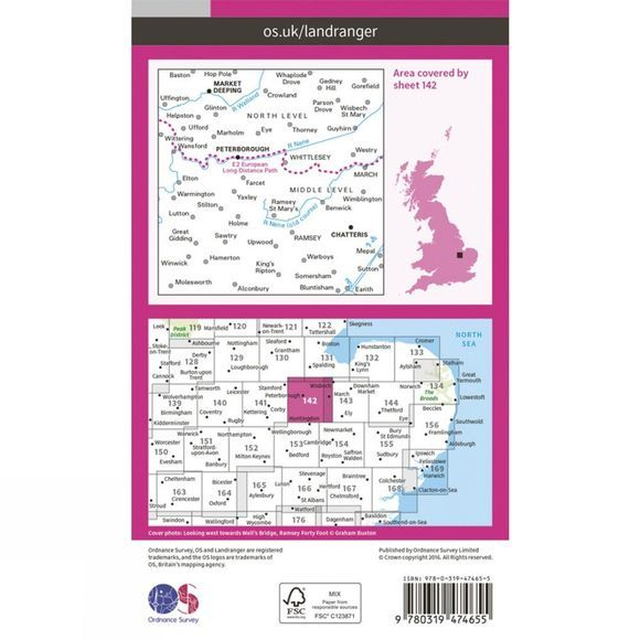 Ordnance Survey Active Landranger Map 142 Peterborough V16