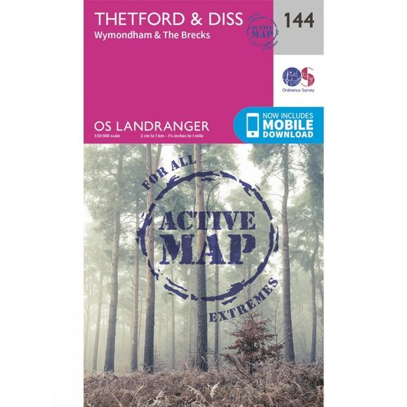 Ordnance Survey Active Landranger Map 144 Thetford and Diss V16