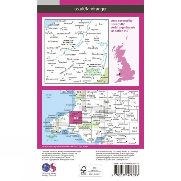 Active Landranger Map 146 Lampeter and Llandovery