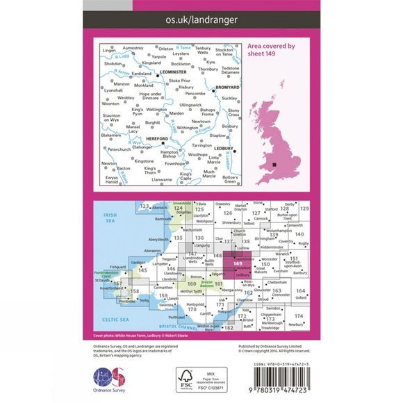 Ordnance Survey Active Landranger Map 149 Hereford and Leominster V16