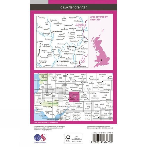 Active Landranger Map 150 Worcester and The Malverns