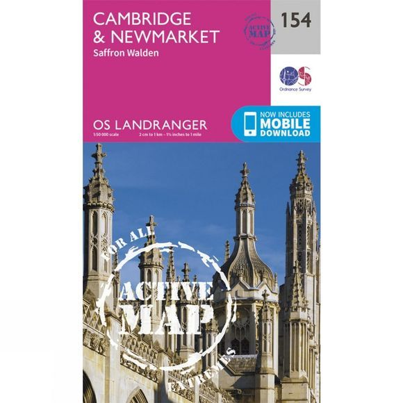 Active Landranger Map 154 Cambridge and Newmarket