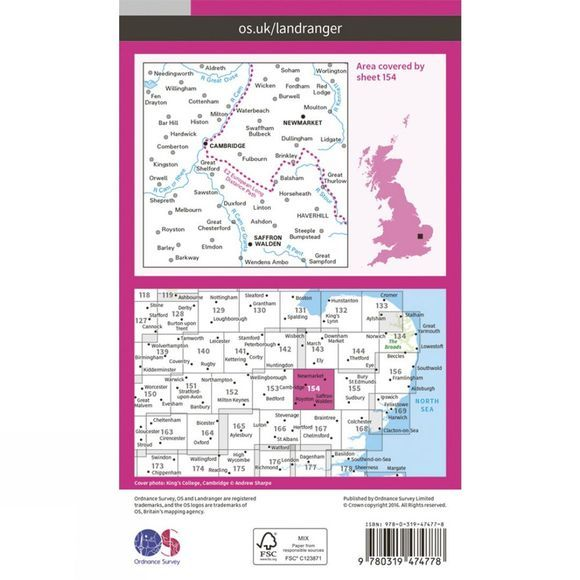 Ordnance Survey Active Landranger Map 154 Cambridge and Newmarket V16