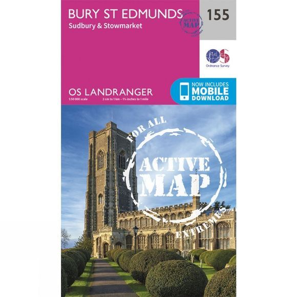 Ordnance Survey Active Landranger Map 155 Bury St Edmunds V16
