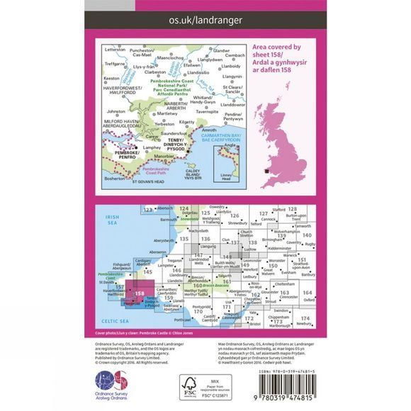 Active Landranger Map 158 Tenby and Pembroke