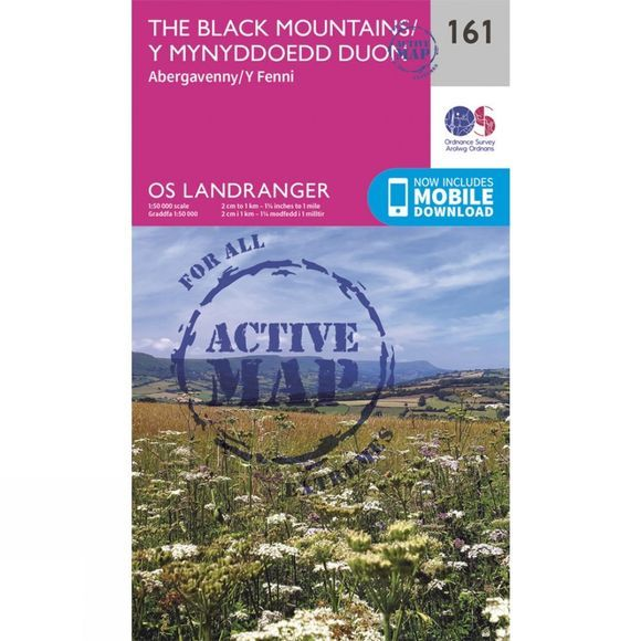 Ordnance Survey Active Landranger Map 161 The Black Mountains V16