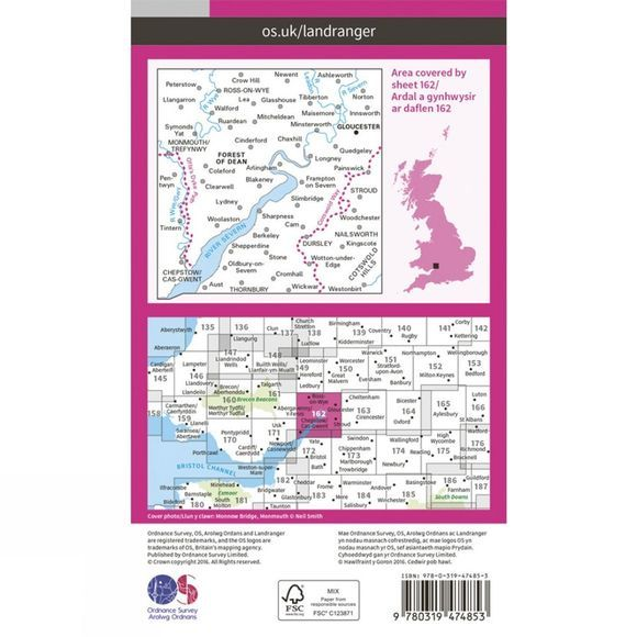 Active Landranger Map 162 Gloucester and Forest of Dean