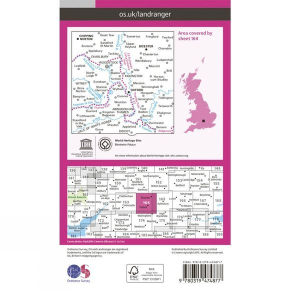 Ordnance Survey Active Landranger Map 164 Oxford V16