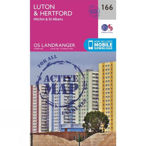 Ordnance Survey Active Landranger Map 166 Luton and Hertford V16