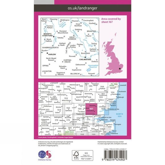 Ordnance Survey Active Landranger Map 167 Chelmsford V16