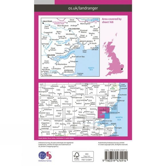Ordnance Survey Active Landranger Map 168 Colchester V16
