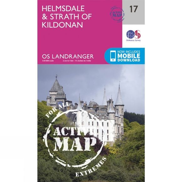Ordnance Survey Active Landranger Map 17 Helmsdale and Strath of Kildonan V16