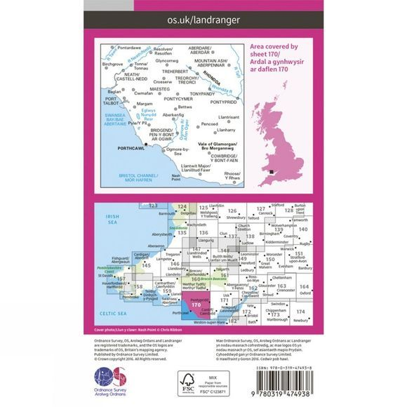 Active Landranger Map 170 Vale of Glamorgan