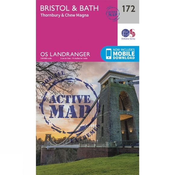 Ordnance Survey Active Landranger Map 172 Bristol and Bath V16