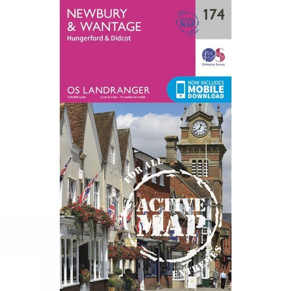 Ordnance Survey Active Landranger Map 174 Newbury and Wantage V16