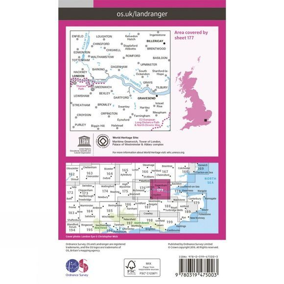 Ordnance Survey Active Landranger Map 177 London East V16